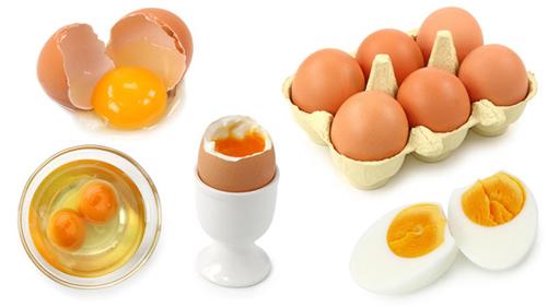 Сырые и сваренные яйца