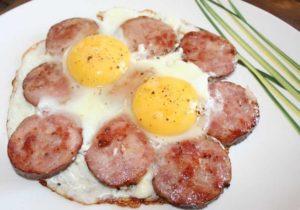 Яйца с колбасой