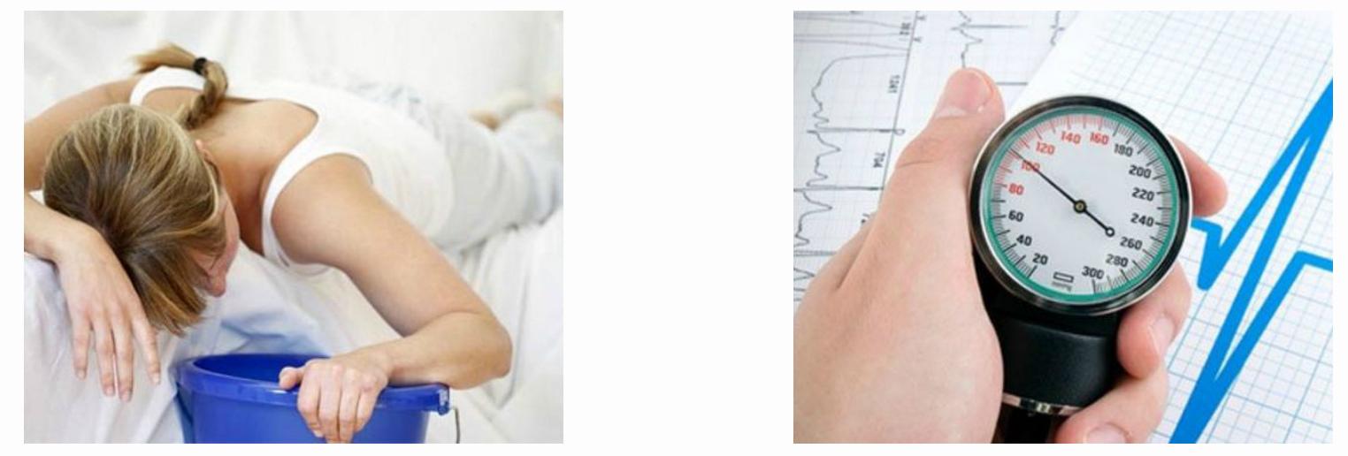 Сильная рвота и резкое падение артериального давления